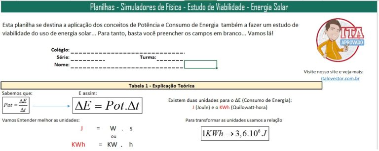 Planilha Consumo e viabilidade energia solar - 01